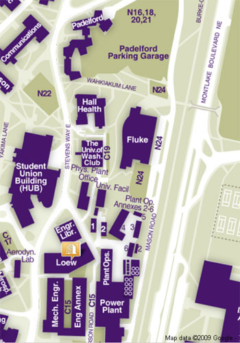 campus map excerpt showing location of Loew Hall