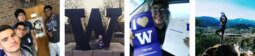 collage of students with acceptance letters and a UW cupcake