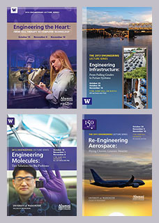 collage of lecture series brochures