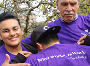 Dave Prince and student: what works is work t-shirt