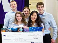 Polydrop team accepts 1st prize and $10,000 check at the 2013 UW Environmental Innovation Challenge