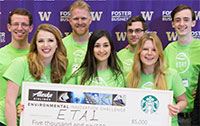ETA1 team accepting check at Environmental Innovation Challenge