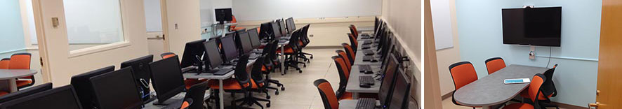 composite image of rooms and computer workstations in Wilcox 73