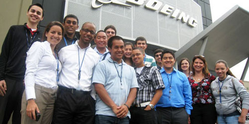Group of MSEP students on outing to Boeing plant