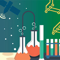 illustration showing circuit pattern, satellite, test tubes and beakers