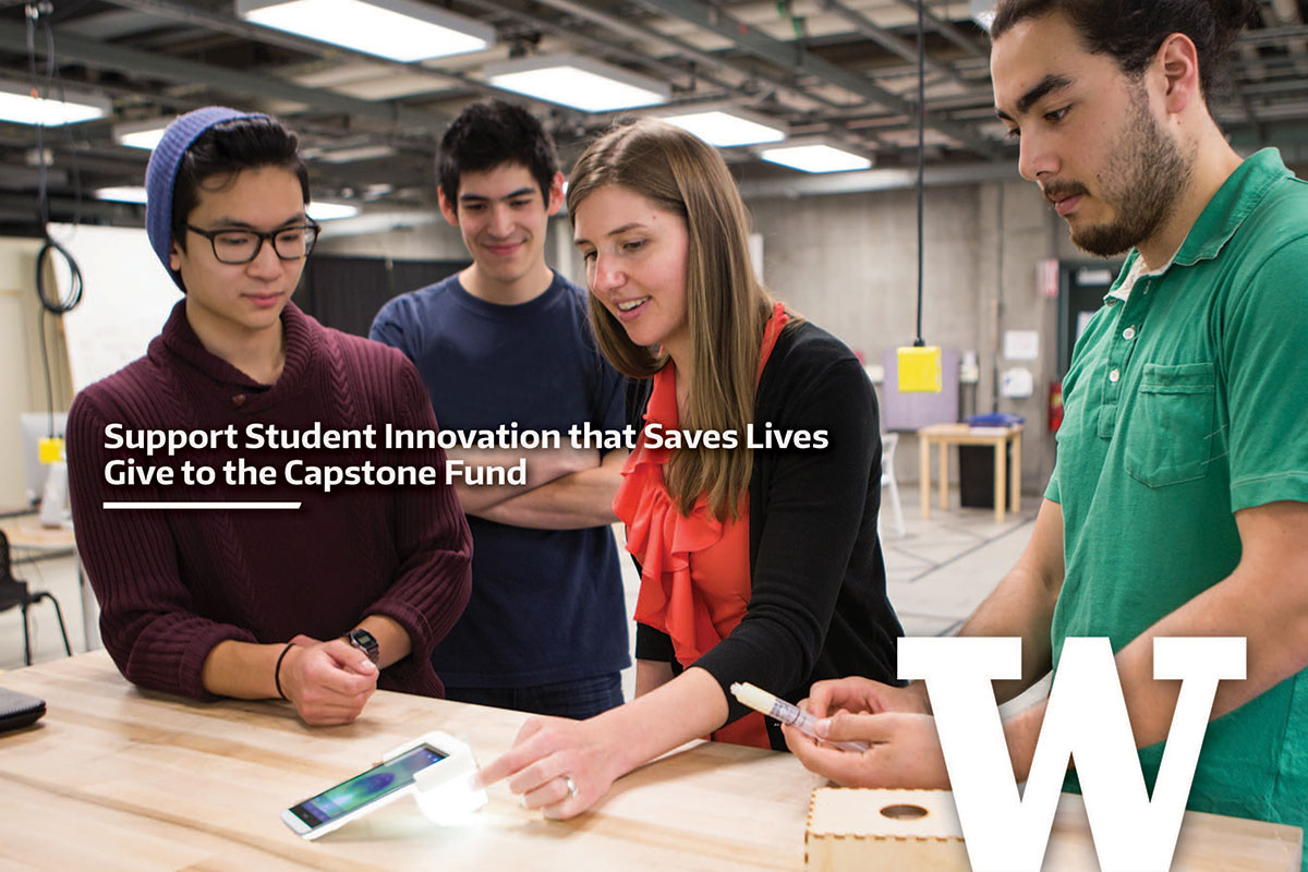 Students with smartphone tool and the words, Support student innovation that saves lives. Give to the Capstone Fund.