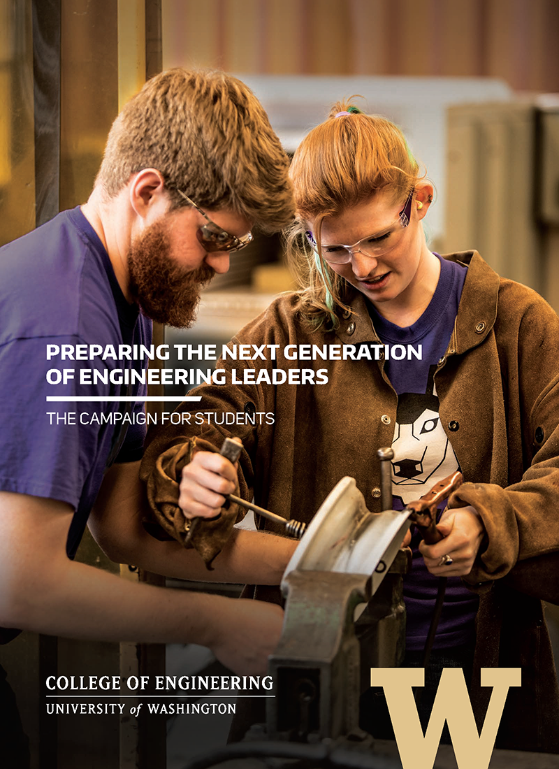 cover of Campaign for Students brochure showing students working together on a project