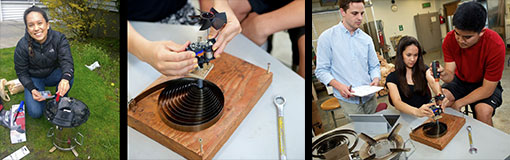 triptych students working on clean burning cook including closeup of spring-driven fan system