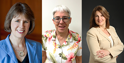 composite image of three alumnae: Amy Haugerud, '77 B.S.; Anne Symonds, '75 B.S.; '78 M.S., and Kristen Betty, '83 B.S. and women CEE students working on a project