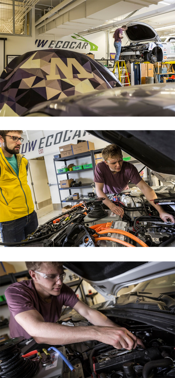 UW EcoCAR team members at work