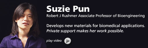Button to play video with image of Suzie Pun, Robert J Rushmer Associate Professor of Bioengineering. Pun Develops new materials for biomedical applications. Private support makes her work possible.