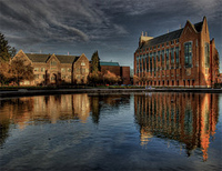 Don Ankney's photo of campus buildings reflected in fountain
