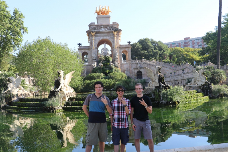 Three of us from UW showing our Husky pride on a spontaneous weekend trip to Barcelona