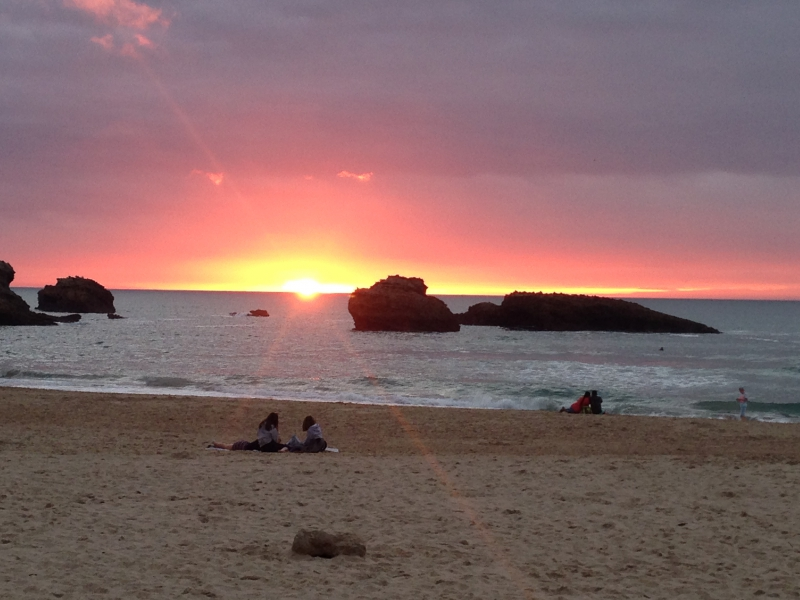 Stunning sunsets over the Atlantic Ocean in Biarritz.