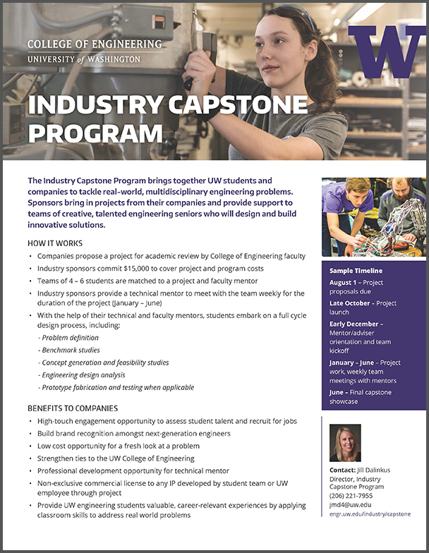 link to and image of Industry Capstone Program flyer