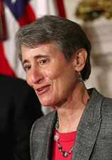 Sally Jewell at podium accepting nomination. Photo: CHIP SOMODEVILLA / GETTY IMAGES