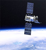 image of a satellite in space with Earth, NASA Goddard Space Flight Center, flickr