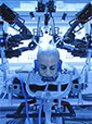 close-up shoot of the UW's Raven II robot as it simulates brain surgery on actor Moisés Arias