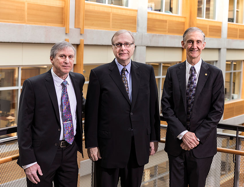 Hank Levy, left, Paul G. Allen, center, and Ed Lazowska, right