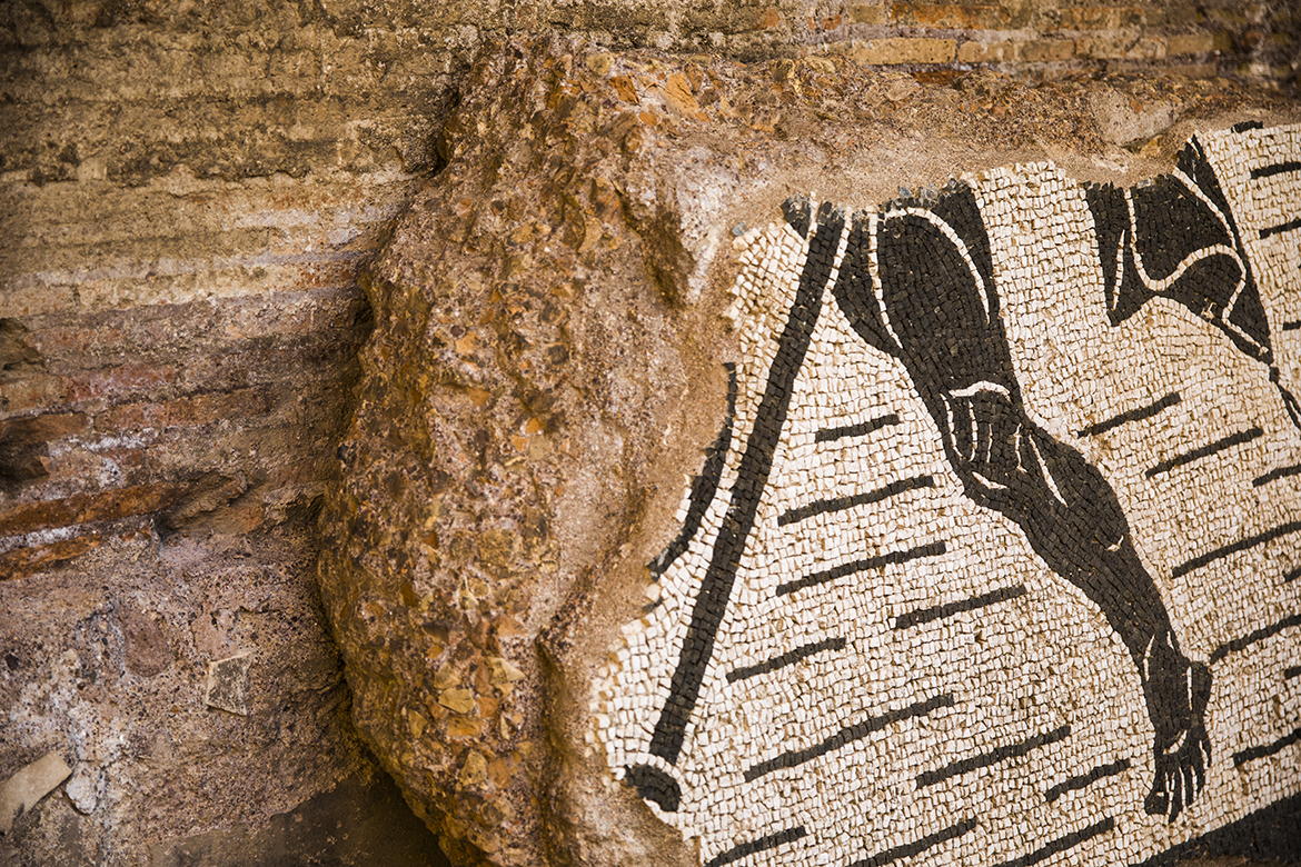 A partial ancient mosaic at the Baths of Caracalla