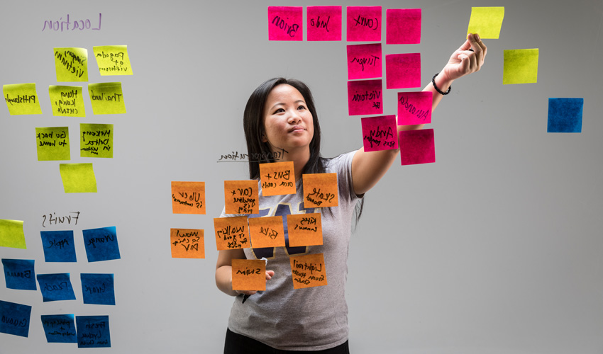 Tuyen Truong brainstorming with post-it notes