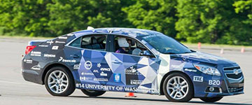 The UW EcoCar2 car on track