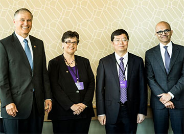 At the GIX signing: Washington State Governor Jay Inslee, UW Interim President Ana Mari Cauce, President of Tsinghua University in China Qiu Yong, and Microsoft CEO Satya Nadella