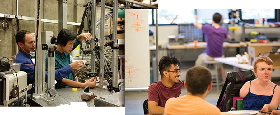 images of students working in UW CoMotion's accessible MakerSpace