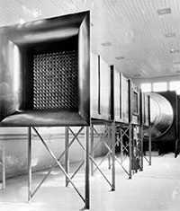 first wind tunnel -- a long metal box on legs