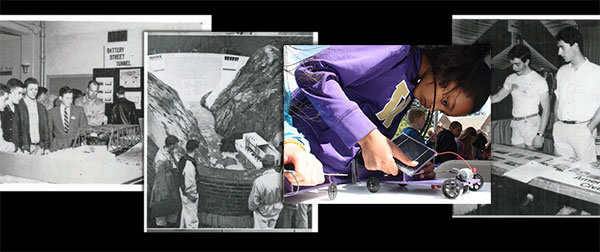collage of black and white photos from Discovery Days 100 years ago with 2014 full color photo on top