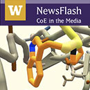 NewsFlash banner with screenshot of Ebola puzzle in Foldit