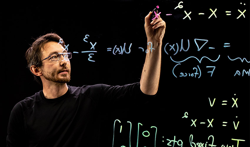 Steve Brunton teaching using a lightboard