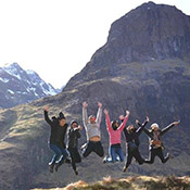 Scotland summer abroad group jumping