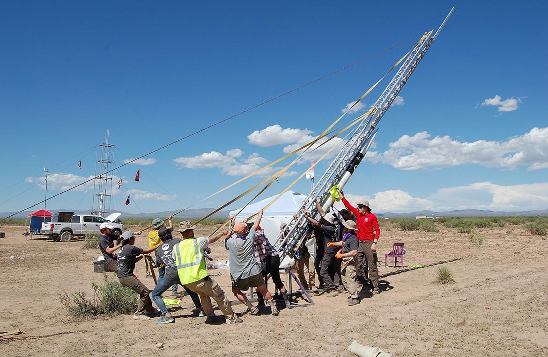 the team hoists the rocket