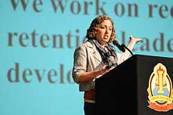 Eve Riskin speaking at JBLM recognition of women in science. Photo credit: Christopher Gaylord/JBLM PAO