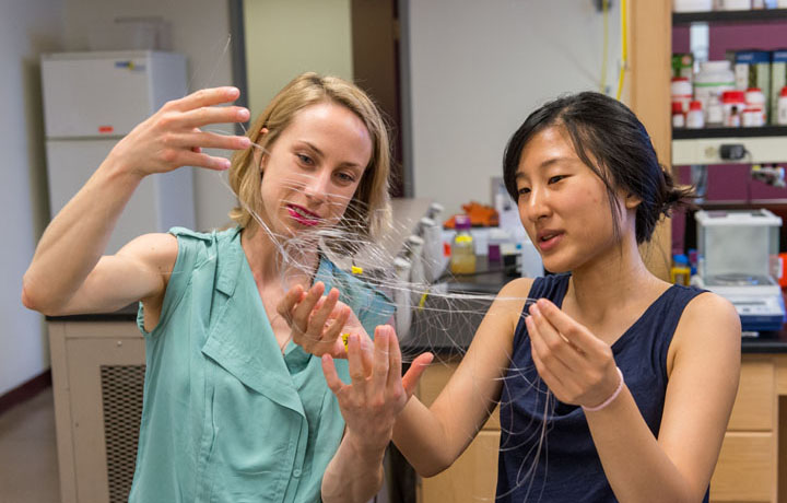 CSNE researchers examining flexible neural recording fibers