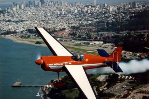 Cecilia Aragon flies her custom-built air show plane, a Sabre 320, over San Francisco bay.