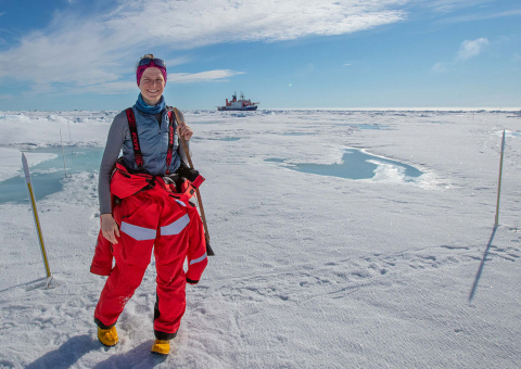CEE alumna Madison Smith standing in the Arctic