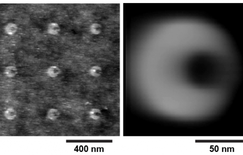 atomic force microscopy image of a surface with nine shapes attached
