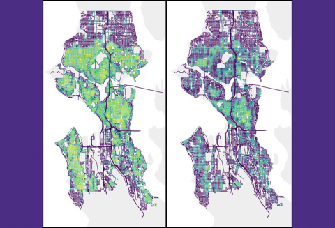 Side by side maps of Seattle color-coded based on normalized sidewalk reach between normative walking profile and manual wheelchair user profile. The map on the left shows more extensive NSR for the normative walking profile compared to the map on the right.