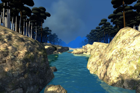 A virtual reality rendition of a river scene
