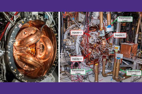 Two photos next to each other, both showing the prototype reactor. On the left has the injectors (three arcs in the middle of the reactor) highlighted, the right is busier but shows a more zoomed out photo with the injectors and the transmission lines labeled.