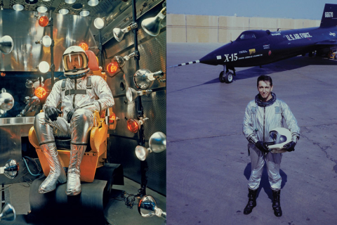 Scott Crossfield siting in a spacesuit side by side with photo of Scott near plane