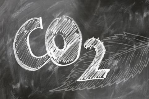 CO2 written on a chalkboard