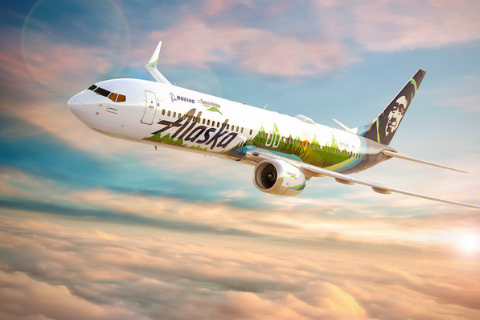 A rendering of this year's ecoDemonstrator plane, a Boeing 737-9 operated by Alaska Airlines.