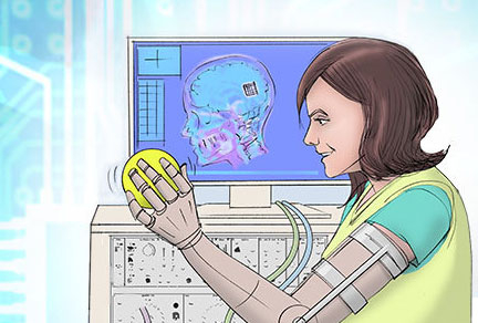 An illustration of a woman holding a ball with an artificial arm