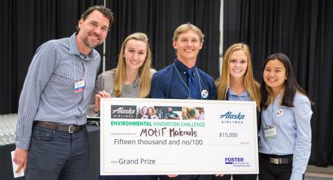 Students posing behind a check