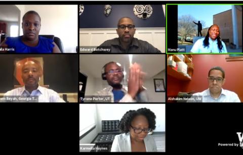 screenshot of panelists on Zoom