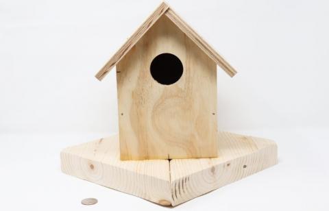 A wooden birdhouse