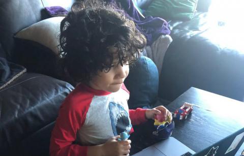 boy using a laptop
